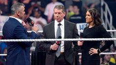 Shane McMahon interrupts the Vincent J. McMahon Legacy of Excellence Award announcement: photos Mcmahon Family, Shane Mcmahon, Stephanie Mcmahon, Vince Mcmahon, Grant Gustin Glee, Wwe Draft, Raw Photo, Excellence Award, Wwe News