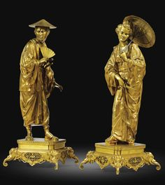 A FRENCH 19TH CENTURY PAIR OF GILT BRONZE FIGURES OF A CHINESE COUPLE, IN THE MANNER OF FRANÇOIS BOUCHER (1703-1770)