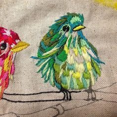 pardalote: 今日はみどり 日中の疲労と晩からの作業は比例している 疲れるほど、無心で針がすすむ #fuge #embroidery #bird #刺繍 #とり by mayumikishino on Flickr.