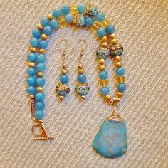 Ocean Blue Variscite Pendant, Grace Lampwork Beads, Blue Chalcedony Gold Filled Necklace
