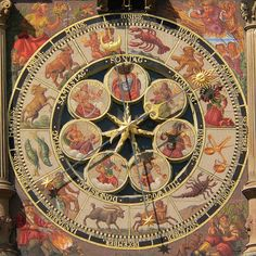 Les 12 signes du Zodiaque - Astrological cock: seven planets and zodiac