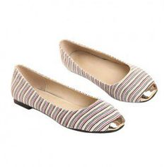 $13.42 Casual Stylish Women's Flat Shoes With Metal and Rainbow Stripe Design