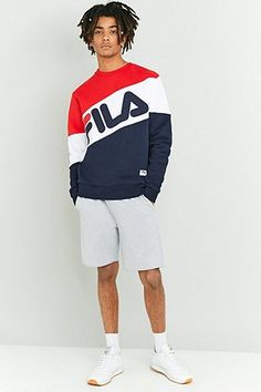 89841ad6ba799 Fila Nate Red and Navy Crewneck Sweatshirt Vintage Adidas, Hip Hop Outfits,  2020 Olympics