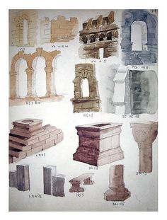 Vintage Original Watercolor Painting Study - Architectural Elements and Stonework, No.4
