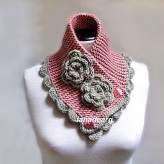 Hand Knit Neck warmer Scarf Chunky Cowl Blush Pink Gray With Flowers ...