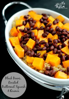 Black Beans, Roasted Butternut Squash and Quinoa - this is a super healthy, super quick and easy meal that you will be able to whip up in less than 30 minutes.