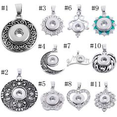 Buy Snap Pendant Fit Snap Mini Buttons For Jewelry Necklace Making Silver Pendant at Wish - Shopping Made Fun Diy Jewelry, Jewelry Necklaces, Fashion Jewelry, Style Fashion, Ginger Snaps Jewelry, Girl Gifts, Crystal Rhinestone, Pendants, Charmed