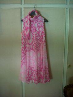 60s floral chiffon cocktail dress