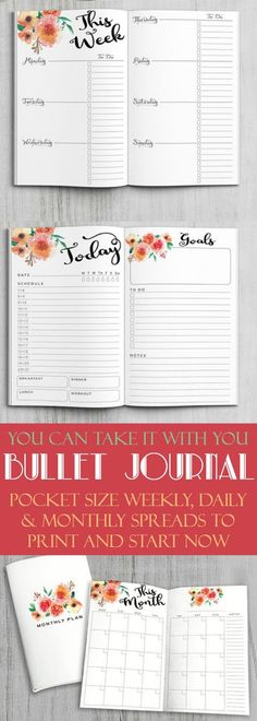 No Excuses! These pocket size bullet journal daily, weekly and monthly logs are ready to print and go. Purse size planning to keep you organized. Bullet journal weekly spread, Bullet journal daily layout, Bullet journal monthly spread, bujo dailies, planner printable, instant download, floral pocket organizer #affiliate #bulletjournalcollection #bulletjournalweeklylog #organize