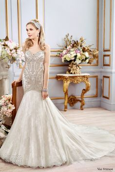 VAL STEFANI #Bridal Spring 2016 #wedding dresses fit flare stunning mermaid gown strapless sweetheart neckline beaded embroidered bodice chapel train b8106
