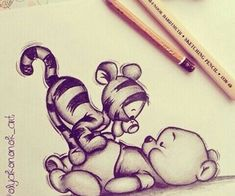 My Disney Drawing - Tigger and Pooh .-Meine Disney-Zeichnung – Tigger and Pooh … – My Disney drawing – Tigger and Pooh … – - Doodle Drawings, Art Drawings Sketches, Sketch Art, Easy Drawings, Animals Tattoo, Drawing Animals, Tigger And Pooh, Pooh Bear, Geometric Tatto