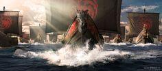 Danys Targaryen Fleet, GoT Season 6, Kieran Belshaw on ArtStation at https://www.artstation.com/artwork/9584o