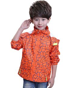 Boys' Rain Jacket, Kids Waterproof Outwear Raincoat with Hooded#D006-07-Orange-120#. Waterproof fabric, windproof, Breathable. Elastic cuffs. Removable hood. Machine Wash. Occasion: Casual, Outdoors, Everyday ,Rainday .Season: Spring, Autumn, Summer.
