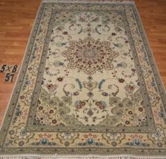 5'x8' Hand-knotted Wool n Silk Oriental Persian Tabriz Area Rug ~New 57