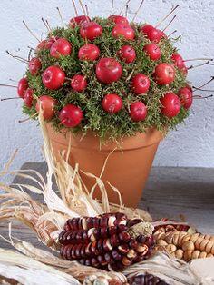 decoratie met sierappeltjes Lovely Smile, Autumn Crafts, Autumn Home, Fall Decor, Harvest, Planter Pots, Centerpieces, December, Bouquet
