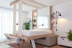 Innovative Bed Lowers From The Ceiling To Maximize Space In Tiny Apartments - DesignTAXI.com