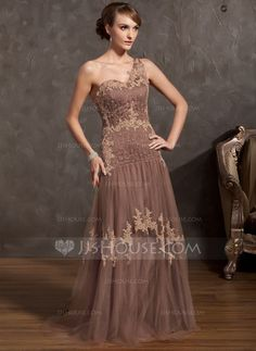 Mother of the Bride Dresses - $167.49 - A-Line/Princess One-Shoulder Sweep Train Tulle Charmeuse Mother of the Bride Dress With Lace Beading (008014895) http://jjshouse.com/A-Line-Princess-One-Shoulder-Sweep-Train-Tulle-Charmeuse-Mother-Of-The-Bride-Dress-With-Lace-Beading-008014895-g14895