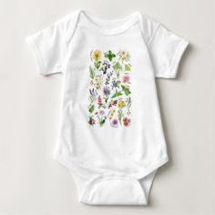 Plants and Herbs Alphabet Baby Bodysuit - flowers floral flower design unique style