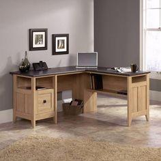 Executive L Shaped Home Office Desk. Sunning Oak Finish