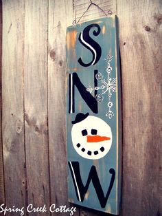 snow sign wooden