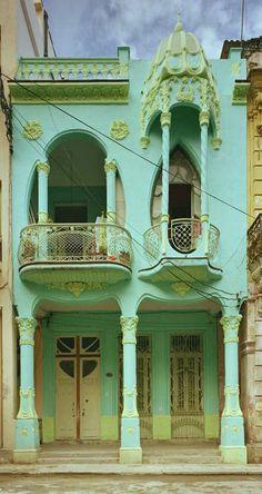 Art Nouveau Building in Havana, Cuba                                                                                                                                                     Plus