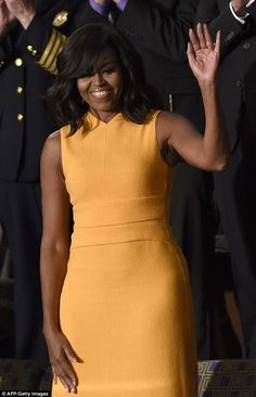 First Lady Michelle Obama certainly made a statement with a bright dress for husband's final State of the Union address