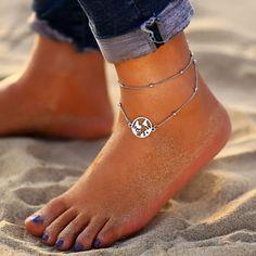 Cdet R/étro Pompon Bracelets de Cheville Bracelet de Cheville Pied Femme Plage Accessoire Bijoux Plage Pieds