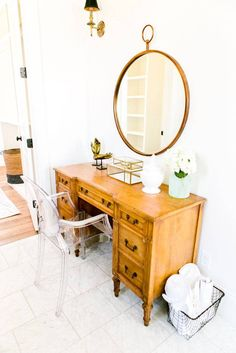 a traditional-modern vanity.