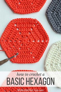 Basic crochet hexagon pattern. Super clear step-by-step photo tutorial. This pattern can be used to make any size hexagon for pillows, rugs, patchwork afghans or even clothes. | MakeAndDoCrew.com