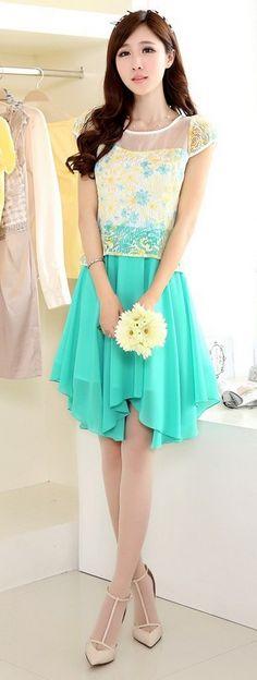 Midi Chiffon Skirt Printed Top Korean Dress YRB0042