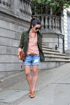 Boyfriend shorts, orange stripes, and army green perfection by Crystalin