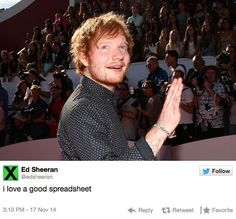 When he showed he knows his way around Mircrosoft Excel. | 21 Times Ed Sheeran Was Endearingly Normal On Twitter
