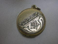 "Vintage Locket Etched ""E D"" From R.B.M. Pendant 3/4"" Round  #RBM"