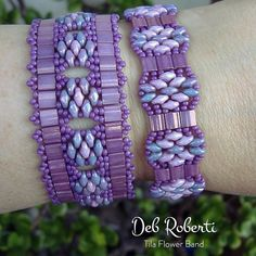 Tila Flower Bands beaded pattern tutorial by Deb Roberti