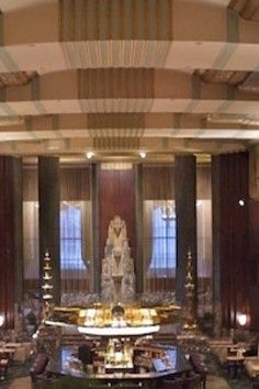 """Cincinnati's """"Must-See"""" hotel ..... spectacular Art Deco architecture. And during Christmas season they have city landmarks in gingerbread on display"""