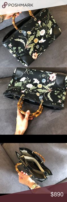 Authentic Gucci Floral Bag Gucci collaboration with artist Kris Knight. Black custom printed canvas. Floral spring inspired pattern. Black leather trim.  Interior beige canvas. Excellent condition, comes with a brown bag, but no black long shoulder strap.  1 centered zipped compartment. 1 snap zipper compartment. 2 phone and small items compartments. 2 large areas for storage (Fits MacBook Pro) 1 small zipper compartment.  W7 x D16 x H11 x L16 in Authenticity number 323658 493492 You can…