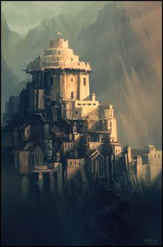 Reminds of where Ryber comes from, northern Nubrevna and the southern Sirmayan Mountains (The Keep by andreasrocha on deviantART)