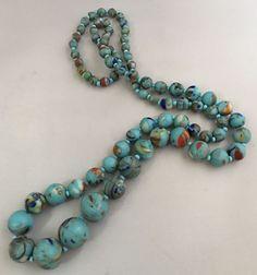 Unusual Graduated Colour Swirl Turquoise Glass Bead Necklace  | eBay