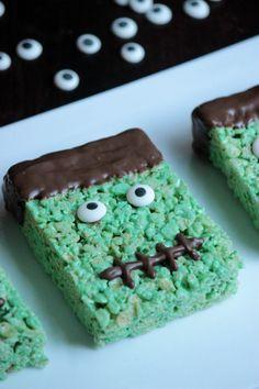 Frankenstein Rice Krispie Treats - So fun!  | bigbearswife.com