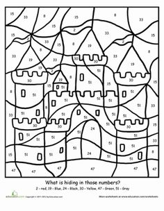 First Grade Counting Color by Number Worksheets: Color By Number: Sand Castle