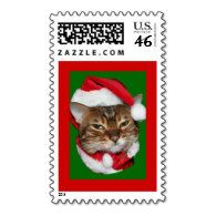 Santa Bengal Cat Postage - cute #SantaKitty #ChristmasCat