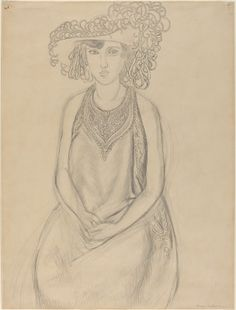 """Henri Matisse, """"The Plumed Hat,"""" graphite on wove paper, Collection of Mr. Gallery Of Modern Art, Museum Of Modern Art, Art Gallery, Matisse Drawing, Modern Drawing, Drawing Sketches, Drawings, Fauvism, Art Academy"""