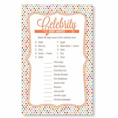 Celebrity Baby Name Game  Baby Shower Game Quiz  by decorandcrafts