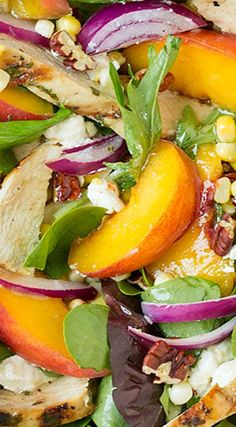 Peach Salad with Grilled Basil Chicken and White Balsamic-Honey Vinaigrette