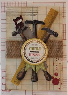 Thank You for Him Vintage Tools Handmade Greeting Card Anna Griffin Style | eBay