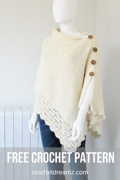 Crochet Shawl A knit-look free crochet poncho pattern. - This free crochet poncho pattern has a knit look to it. Simple yet classy, this beginner poncho is made from a simple rectangle. Crochet Poncho Patterns, Crochet Scarves, Crochet Shawl, Crochet Clothes, Crochet Stitches, Knit Crochet, Cardigan Pattern, Crochet Style, Crochet Vests