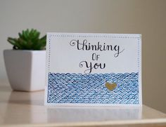 Hand painted Card, Thinking of you Card, Watercolor Cards, Forget me not, Handmade Card by AmoryPapel on Etsy