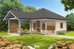 Projekt domu Simon energo plus - koszt budowy 239 tys. Modern Bungalow Exterior, Bungalow House Design, Modern House Design, Villa Plan, Architectural Design House Plans, Facade House, Small House Plans, Gazebo, Outdoor Structures