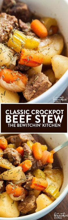 Crockpot Beef Stew - this classic beef stew is what I grew up on. It's made in the slow cooker so it's not only healthy, but easy too! Beef Stee Crockpot, Beef Stew Slow Cooker, Crockpot Beef Stew Recipe, Slow Cooker Easy Recipes, Pork Cubes Recipes, Stewing Beef Recipes, Easy Healthy Crockpot Recipes, Cubed Beef Recipes, Beef Stew Crockpot Easy