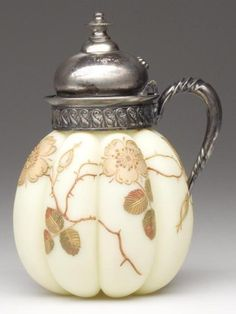 Mt Washington Crown Milano Melon Ribbed Syurp Pitcher with Gold Floral Decoration - 5 1/2 inch HOA